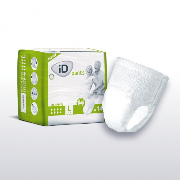 iD Pants Super Large (100-145cm/39-57in) 1950ml - Pack of 14